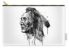 Carry-all Pouch featuring the mixed media Black And White Sioux Warrior Watercolor by Marian Voicu