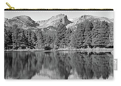 Carry-all Pouch featuring the photograph Black And White Sprague Lake Reflection by Dan Sproul