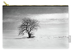 Black And White Tree In Winter Carry-all Pouch