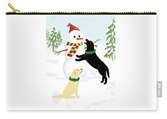 Black And Yellow Labs With Snowman Carry-all Pouch