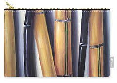 Carry-all Pouch featuring the painting Black And Gold Bamboos by Randol Burns