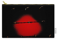 Black Barbed Wire Over Black And Blood Red Background Eerie Imprisonment Scene Carry-all Pouch