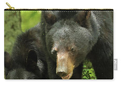 Carry-all Pouch featuring the photograph Black Bear And Cub On Ground by Coby Cooper