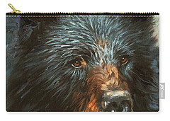 Carry-all Pouch featuring the painting Black Bear by David Stribbling