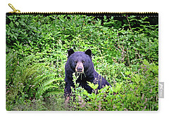 Carry-all Pouch featuring the photograph Black Bear Eating His Veggies by Peggy Collins