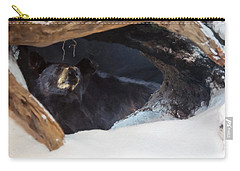 Carry-all Pouch featuring the digital art Black Bear In Its Winter Den by Chris Flees