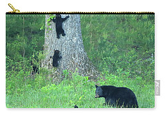 Carry-all Pouch featuring the photograph Black Bear Sow And Four Cubs by Coby Cooper