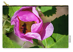 Carry-all Pouch featuring the photograph Black Bee Collecting Pollen by Darcy Michaelchuk