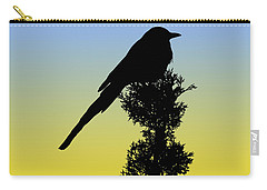 Black-billed Magpie Silhouette At Sunrise Carry-all Pouch
