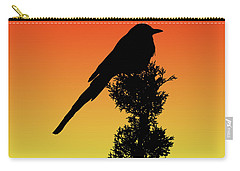Black-billed Magpie Silhouette At Sunset Carry-all Pouch