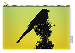 Black-billed Magpie Silhouette - Special Request Background Carry-all Pouch