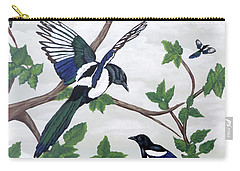 Carry-all Pouch featuring the painting Black Billed Magpies by Teresa Wing