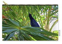 Carry-all Pouch featuring the photograph Black Bird And Green Leaf by Francesca Mackenney