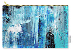 Carry-all Pouch featuring the painting Black Blue Abstract Painting by Christina Rollo