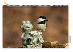 Black-capped Chickadee And Frog Carry-all Pouch by Sheila Brown