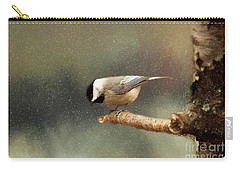 Carry-all Pouch featuring the photograph Black Capped Chickadee by Darren Fisher