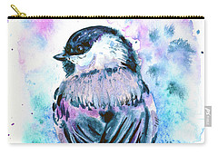 Carry-all Pouch featuring the painting Black-capped Chickadee by Zaira Dzhaubaeva