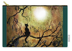 Black Cat And Full Moon Carry-all Pouch by Laura Iverson