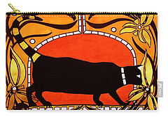 Black Cat With Floral Motif Of Art Nouveau By Dora Hathazi Mendes Carry-all Pouch by Dora Hathazi Mendes