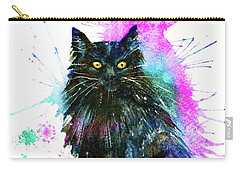 Carry-all Pouch featuring the painting Black Cat by Zaira Dzhaubaeva