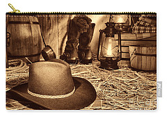 Black Cowboy Hat In An Old Barn Carry-all Pouch