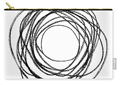 Black Doodle Circular Shape Carry-all Pouch by GoodMood Art
