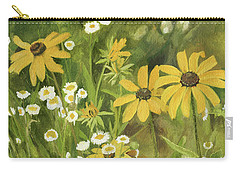 Carry-all Pouch featuring the painting Black-eyed Susans In A Field by Laurie Rohner