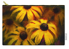 Carry-all Pouch featuring the painting Black Eyed Susans - Vibrant Flowers by Karen Whitworth