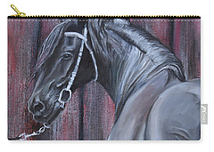 Black Friesian At The Stable Carry-all Pouch