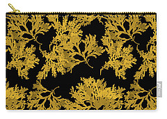 Carry-all Pouch featuring the mixed media Black Gold Leaf Pattern by Christina Rollo