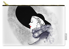 Carry-all Pouch featuring the digital art Black Hat Red Lips by Cindy Garber Iverson