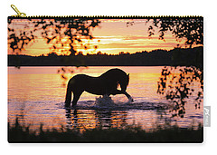 Black Horse Bathing In Sunset River Carry-all Pouch
