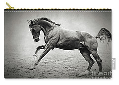 Black Horse In Dust Carry-all Pouch