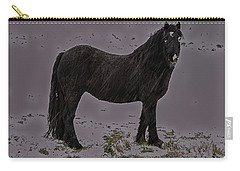 Black Horse In The Snow Carry-all Pouch