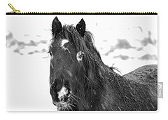 Black Horse Staring In The Snow Black And White Carry-all Pouch