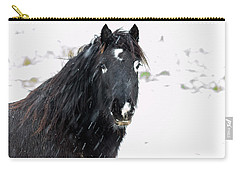 Black Horse Staring In The Snow Carry-all Pouch