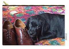 Black Lab Puppy Carry-all Pouch by Robin Regan