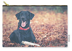 Black Labrador In The Fall Leaves Carry-all Pouch