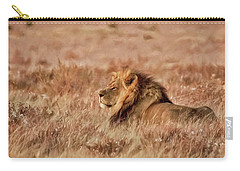 Black-maned Lion Of The Kalahari Waiting Carry-all Pouch