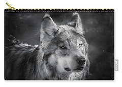 Carry-all Pouch featuring the photograph Black N White Wolf by Elaine Malott