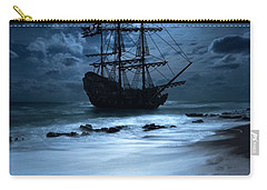 Black Pearl Pirate Ship Landing Under Full Moon Carry-all Pouch by Justin Kelefas