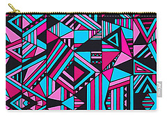 Black Pink Blue Geometric Design Carry-all Pouch