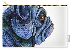 Carry-all Pouch featuring the painting Black Pug by Zaira Dzhaubaeva