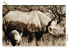 Black Rhino And Youngster Carry-all Pouch