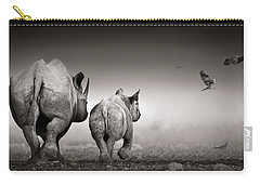 Black Rhino Cow With Calf  Carry-all Pouch