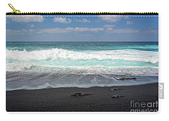 Carry-all Pouch featuring the photograph Black Sand Beach by Delphimages Photo Creations