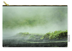 Black Sand Beach In The Mist Carry-all Pouch by Joan Davis