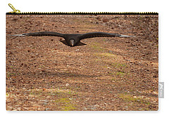 Carry-all Pouch featuring the digital art Black Vulture In Flight by Chris Flees