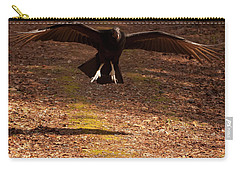 Carry-all Pouch featuring the digital art Black Vulture Landing by Chris Flees