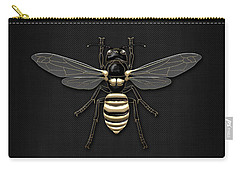 Black Wasp With Gold Accents On Black  Carry-all Pouch by Serge Averbukh